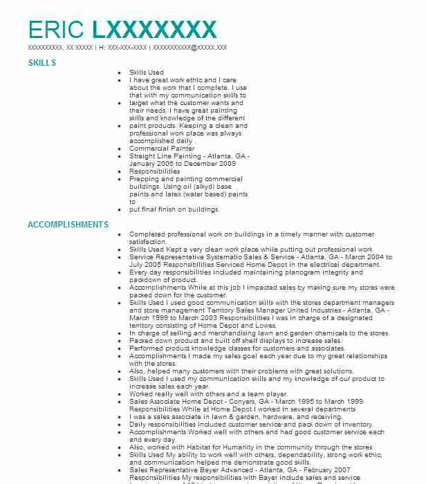 resume for painter