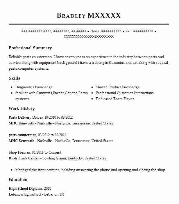 parts delivery driver resume sample