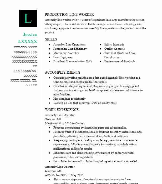 create my resume - Assembly Line Resume