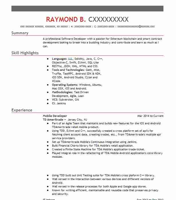 1490 Mobile App Development Resume Examples Computers And