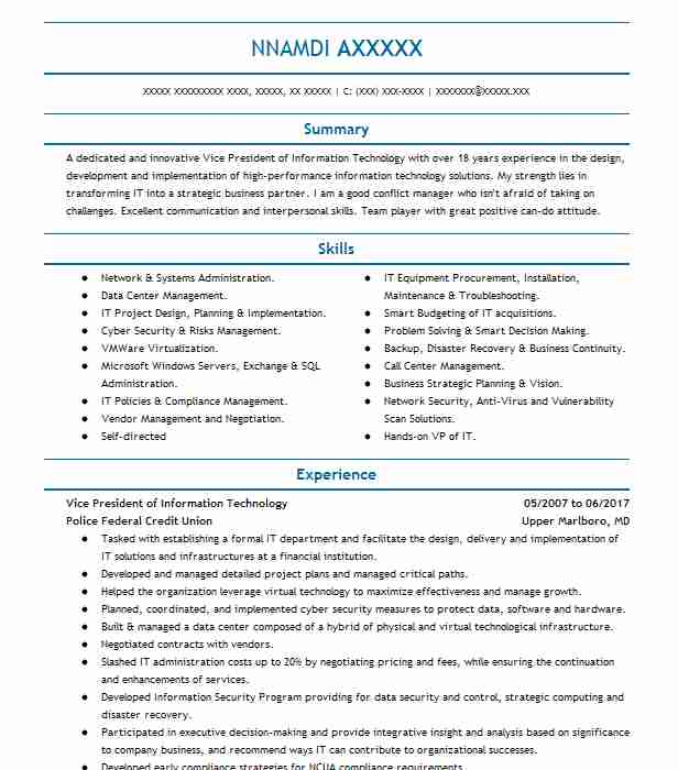 13 resumes matching it management resume samples in bowie maryland - Ciso Resume