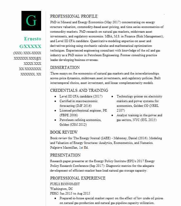 economist resume sample