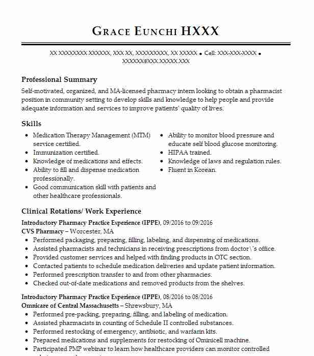 introductory pharmacy practice experience ippe resume example cvs