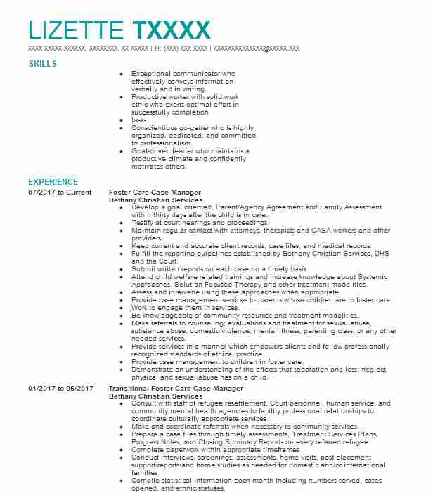 Foster Care Case Manager Resume Sample Manager Resumes