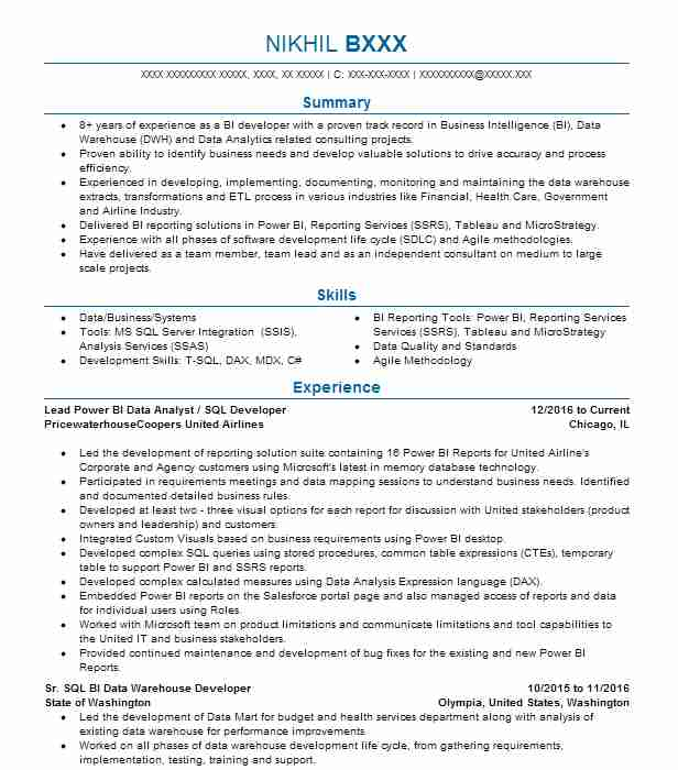 SQL BI/Power BI Developer Resume Example Bijjamit - Hammond ...