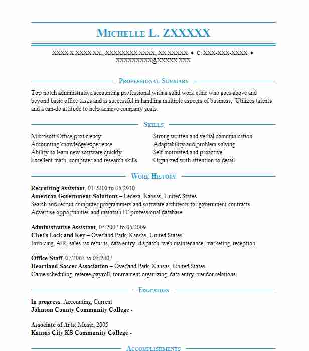 Recruiting Assistant Resume Sample | Assistant Resumes | LiveCareer