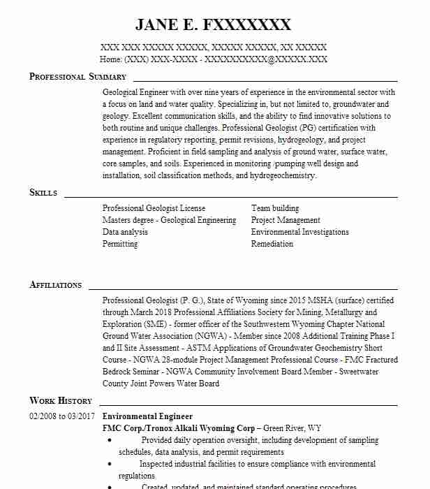 environmental engineer resume sample