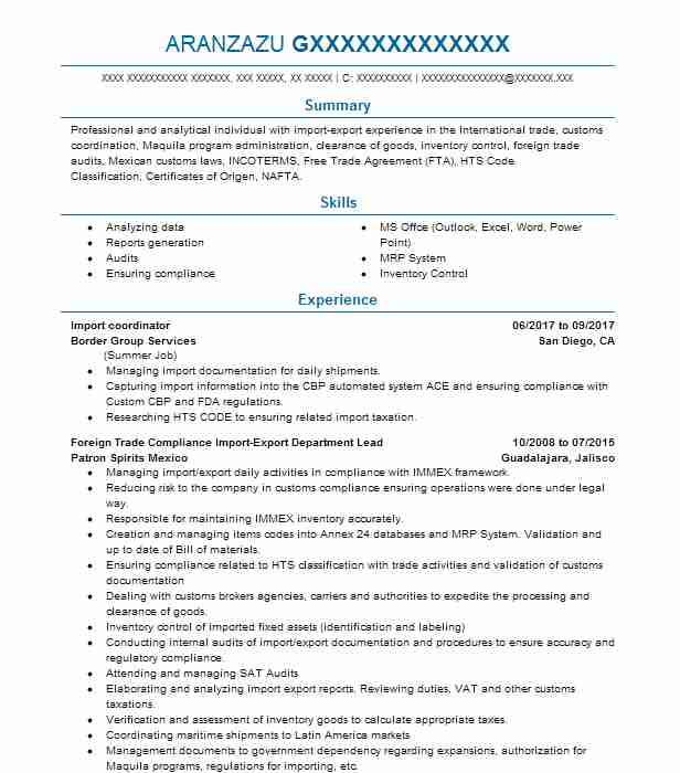 import coordinator resume sample