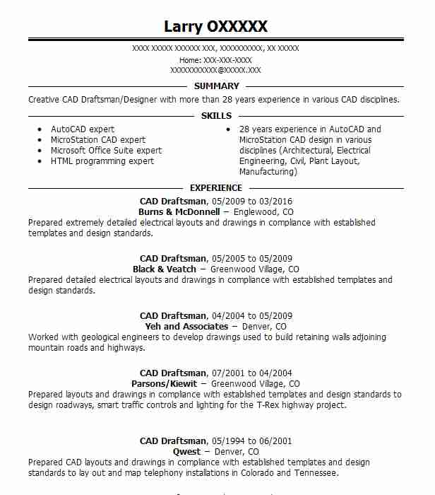 cad draftsman resume sample