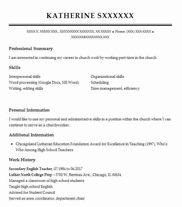 Secondary English Teacher Resume Sample Teacher Resumes Livecareer