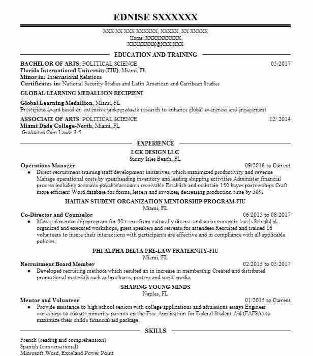 Operations Manager  Veteran Resume