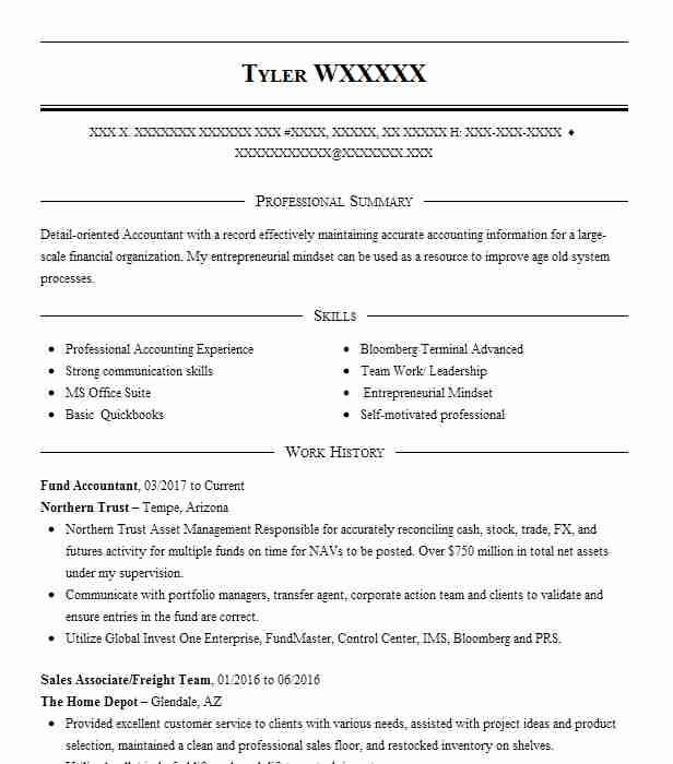 fund accountant resume sample