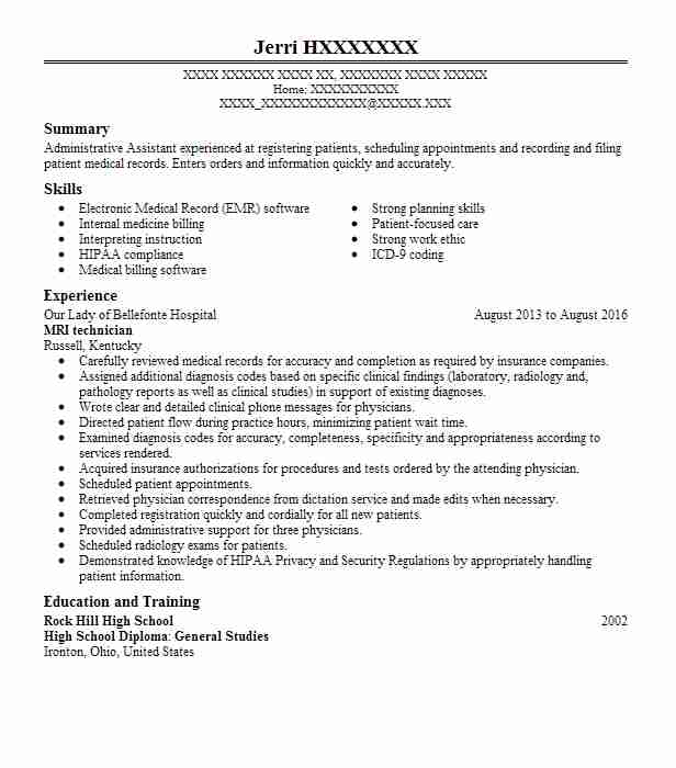 mri technician resume sample