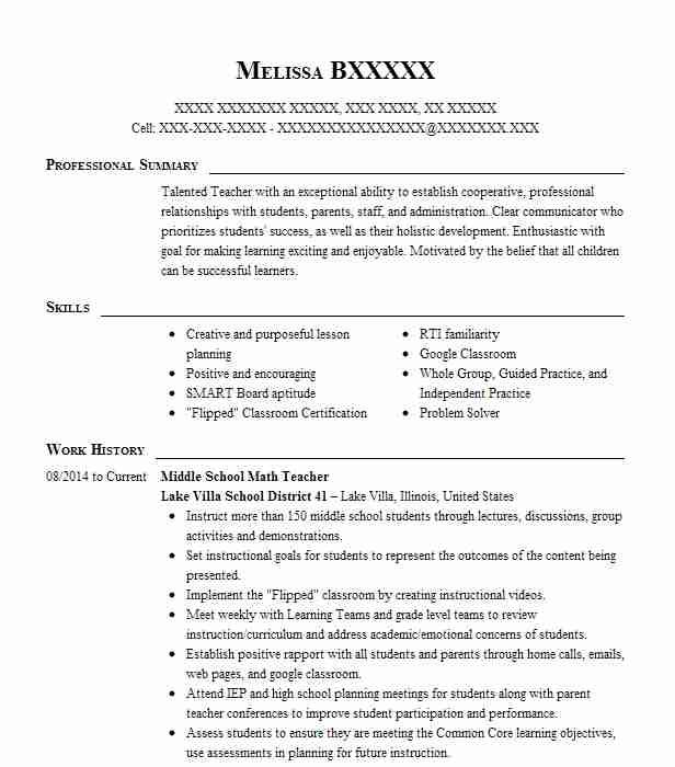 middle school math teacher resume sample