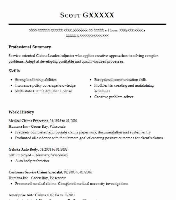 medical claims processor resume sample