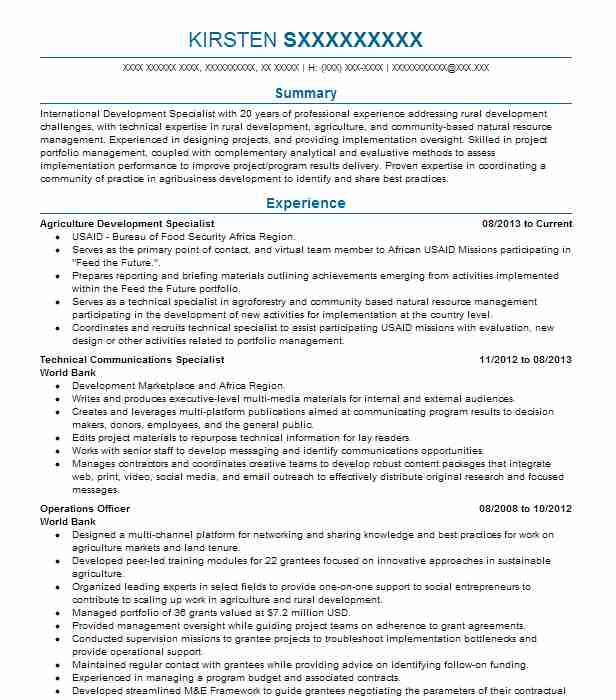 monitoring and evaluation specialist resume sample livecareer