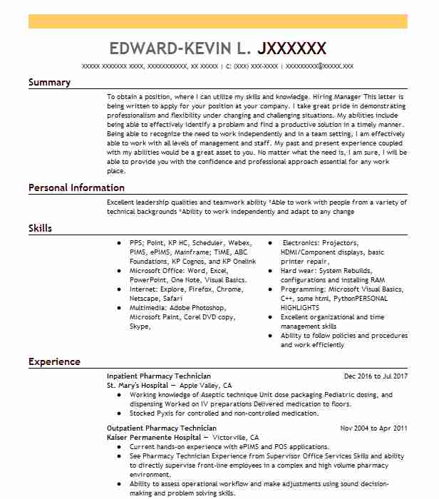 Certified Pharmacy Technician Cover Letter: Inpatient Pharmacy Technician Resume Sample