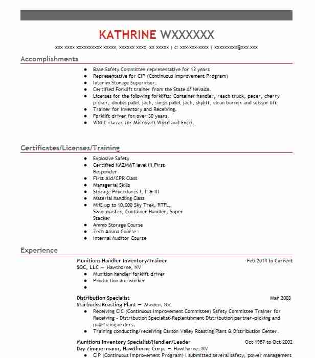 find resume examples in hawthorne  nv
