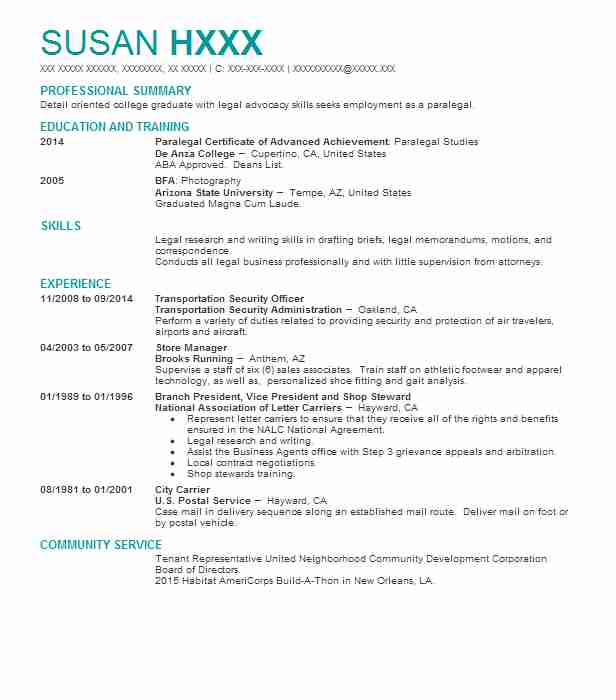 Steward Resume Samples. Steward · Transportation Security Officer