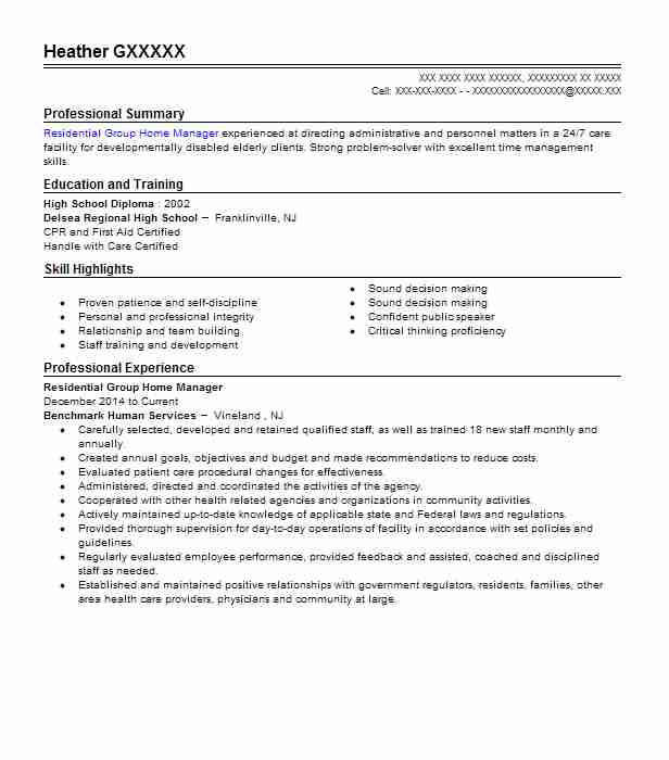 residential group home manager resume example ari of
