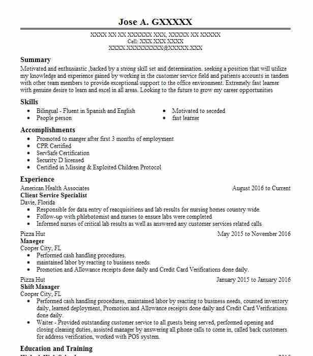 resume for customer service specialist