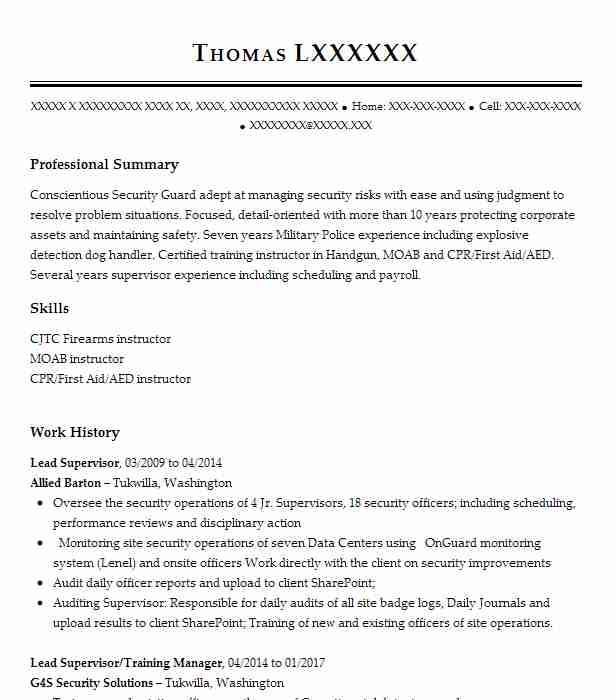 15 resumes matching law enforcement and security resume samples in yelm washington - G4s Security Officer Sample Resume