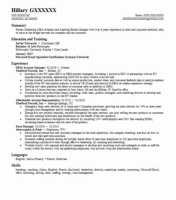 109 Brand Management Resume Examples in Indiana | LiveCareer