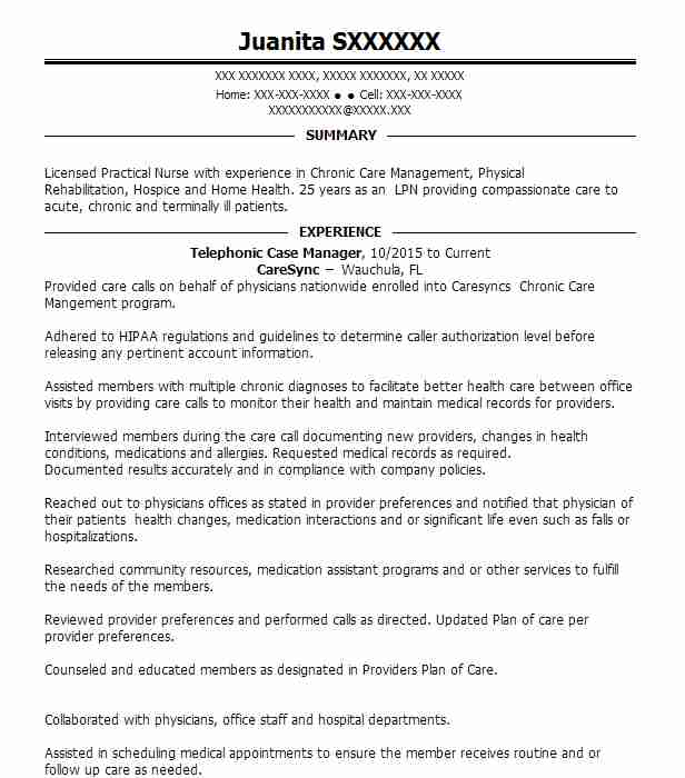 telephonic nurse case manager resume example genex