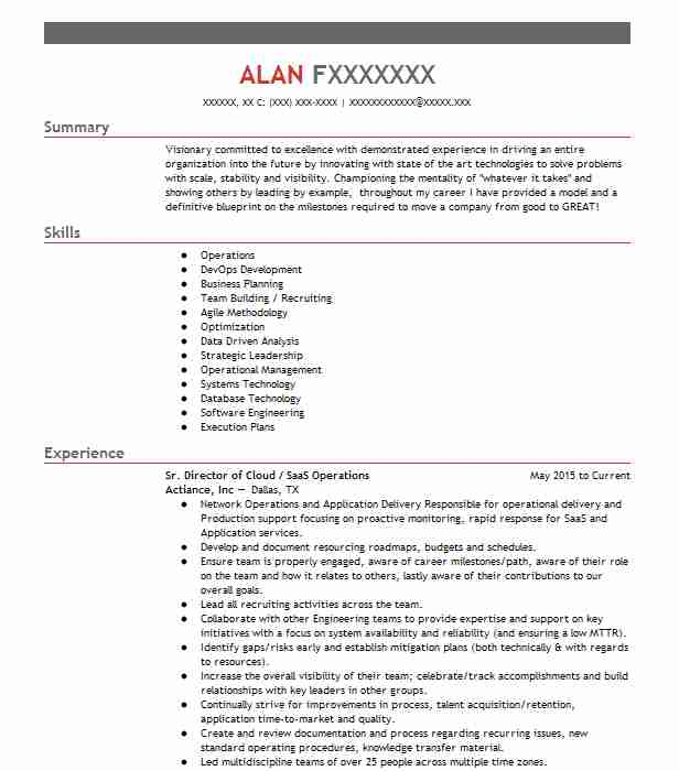 Saas Operations Manager Resume Example Calypso Technology ...