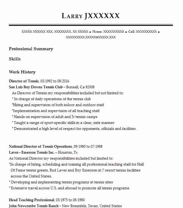director of tennis resume example country club of