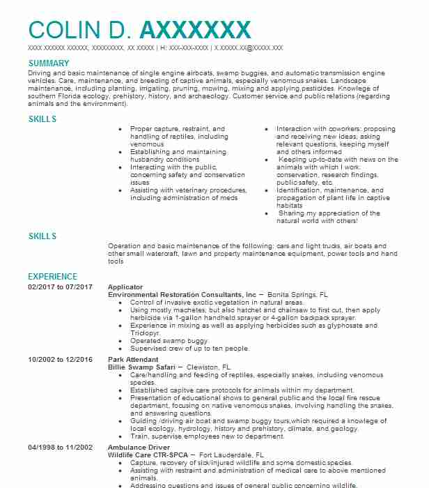 4303 Conservation Resume Examples | Natural Resources And ...