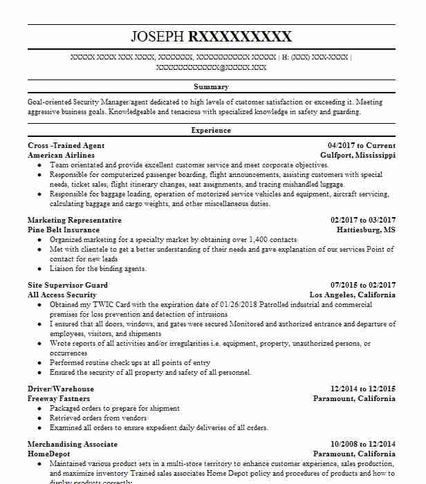 160 Security Management Law Enforcement And Security Resume
