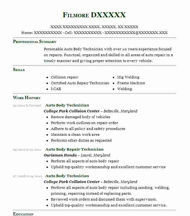 auto body technician resume sample