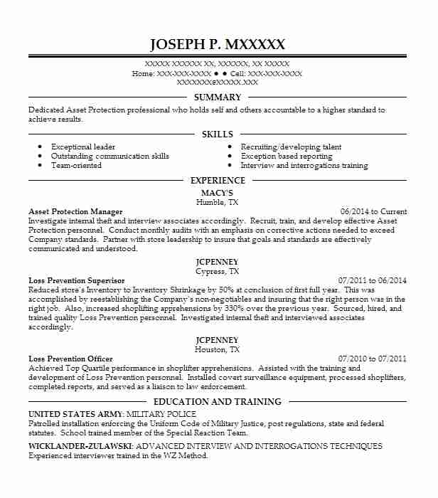 asset protection manager resume example walmart