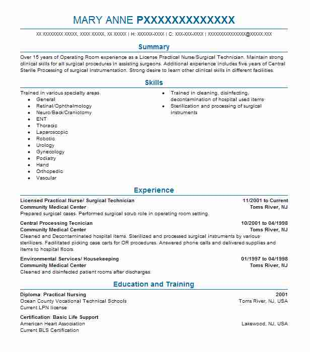 Licensed Practical Nurse Surgical Technician Resume Example