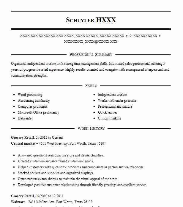 grocery retail resume sample