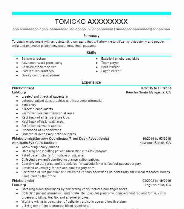 Create My Resume  Phlebotomist Resume