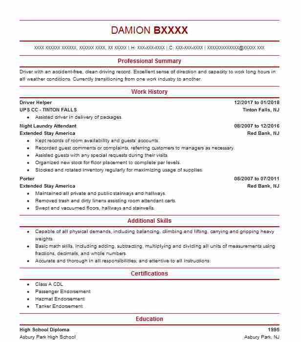 Best Truck Driver Resume Example LiveCareer