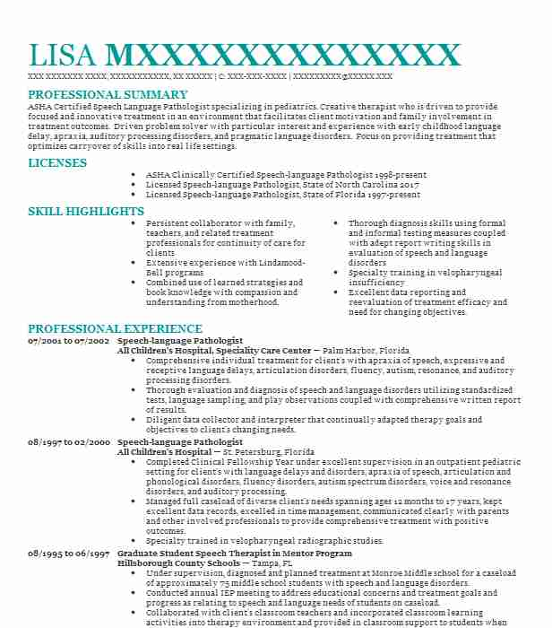 Speech Language Pathologist Resume Example All Childrens Hospital Speciality Care Center