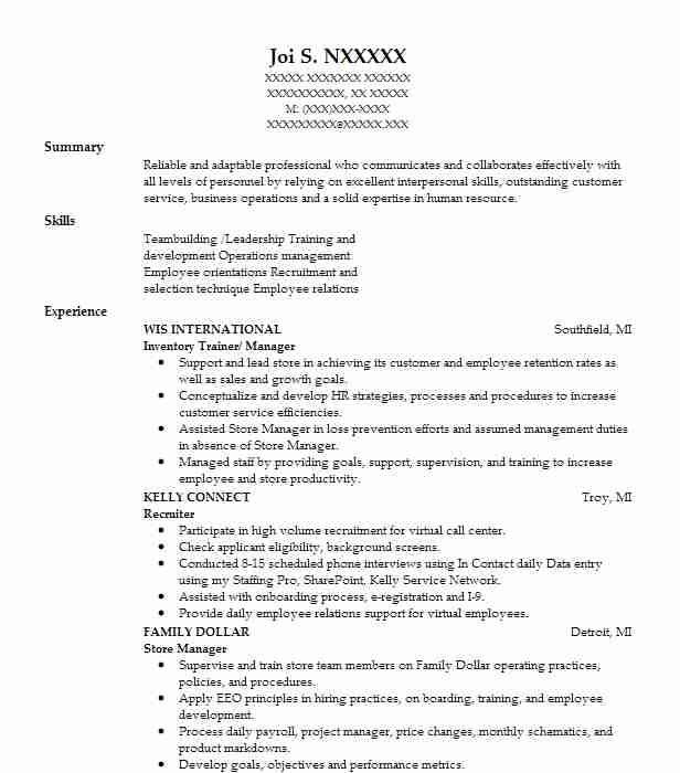Wonderful Inventory Trainer/ Manager  Recruiting Coordinator Resume