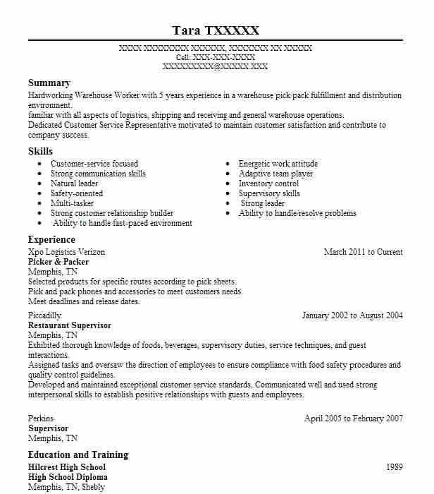 Picker/Packer Resume Example Kohls Distribution - San
