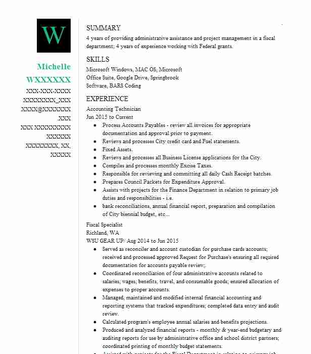 accounting technician resume sample