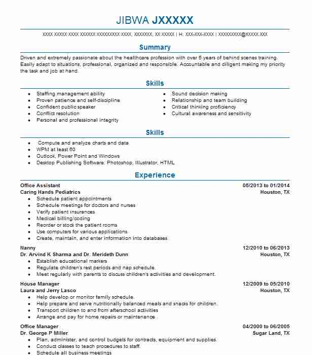 Office Assistant Caring Hands Pediatrics