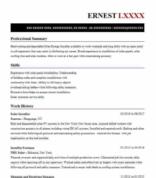 Solar Installer Resume Sample | Installer Resumes | LiveCareer