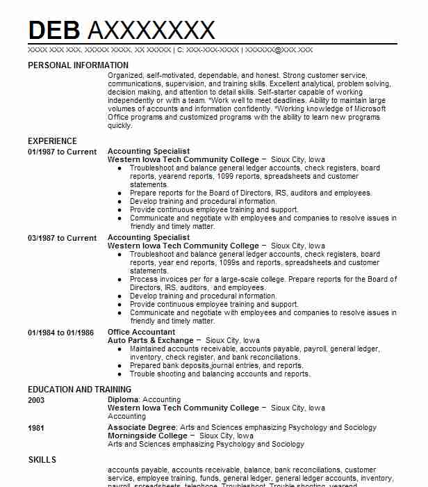 596 Accounts Payable/Receivable (Accounting And Finance) Resume ...