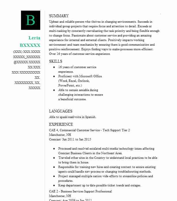 Customer Service Tech Support Resume Example Comcast Nashville Tennessee