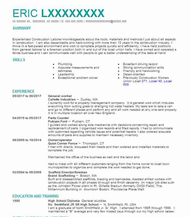 General Worker Resume Sample Resumes Misc Livecareer