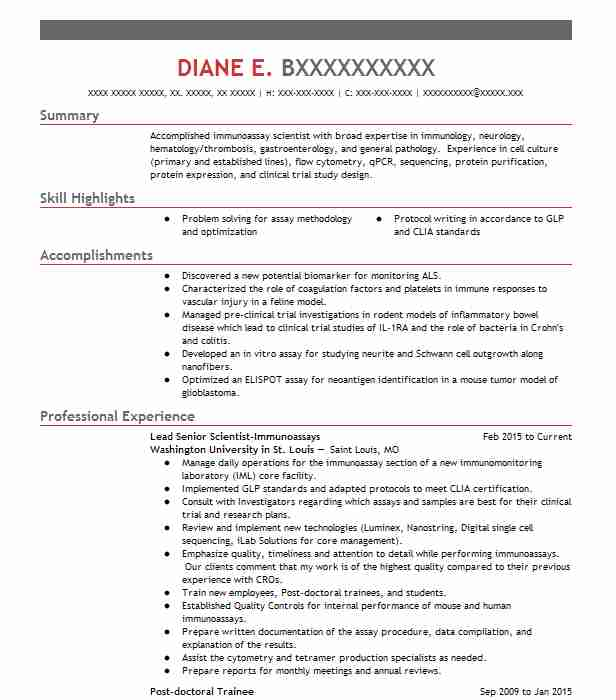 Lead Senior Scientist Immunoassays  Biotech Resume Sample