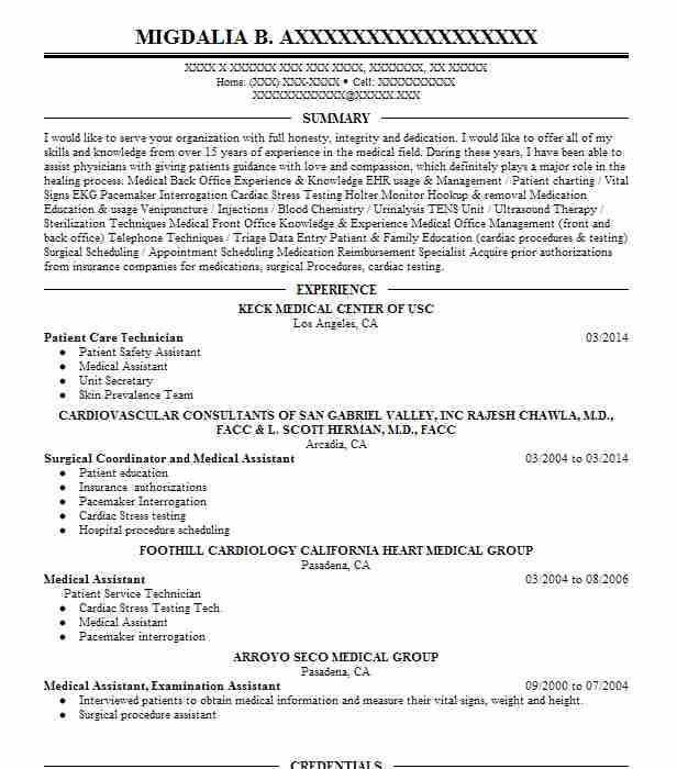 Patient Care Technician Resume Sample Resumes Misc Livecareer