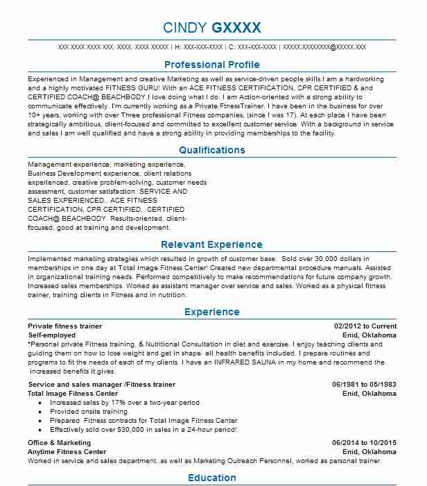 143 Fitness And Recreation Managers (Fitness And Recreation) Resume ...